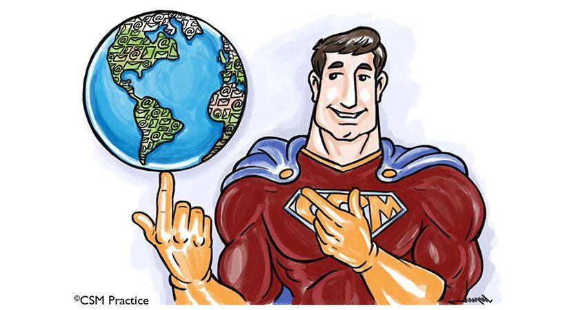 CSM Practice hero with globe on finger