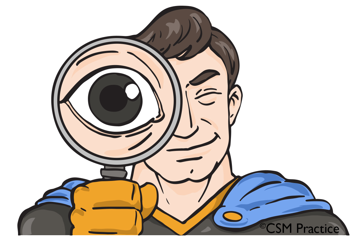 Super with magnifying glass