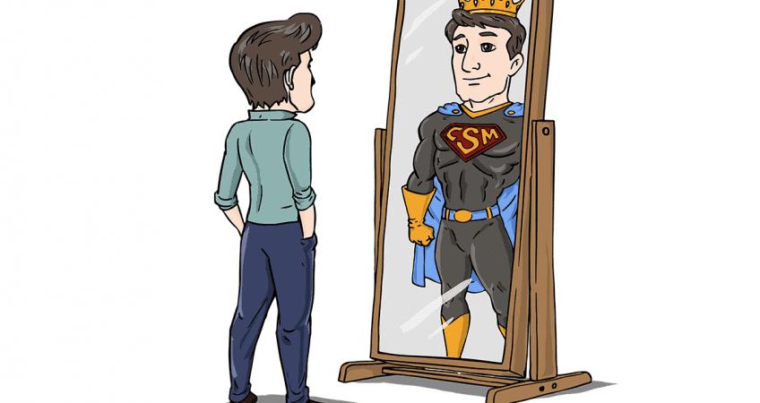 hero looking in the mirror