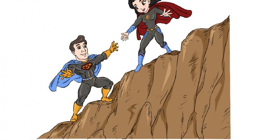 CSM hero & heroin climbing mountain