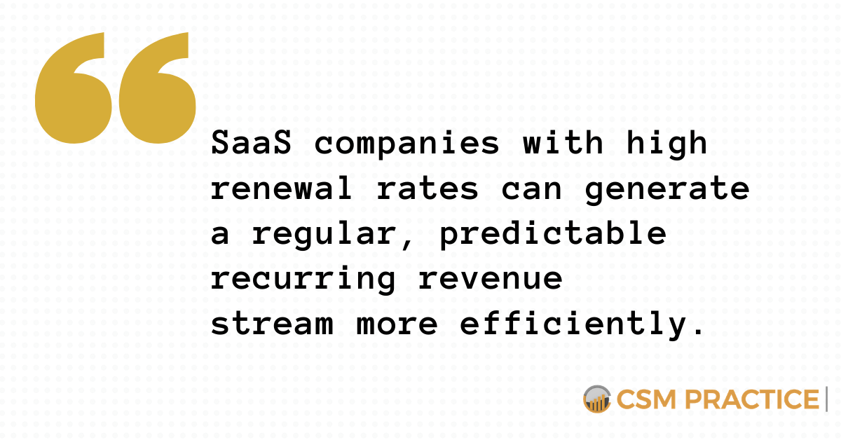 SaaS Companies with high renewal rates can generate a regular, predictable recurring revenue efficiently