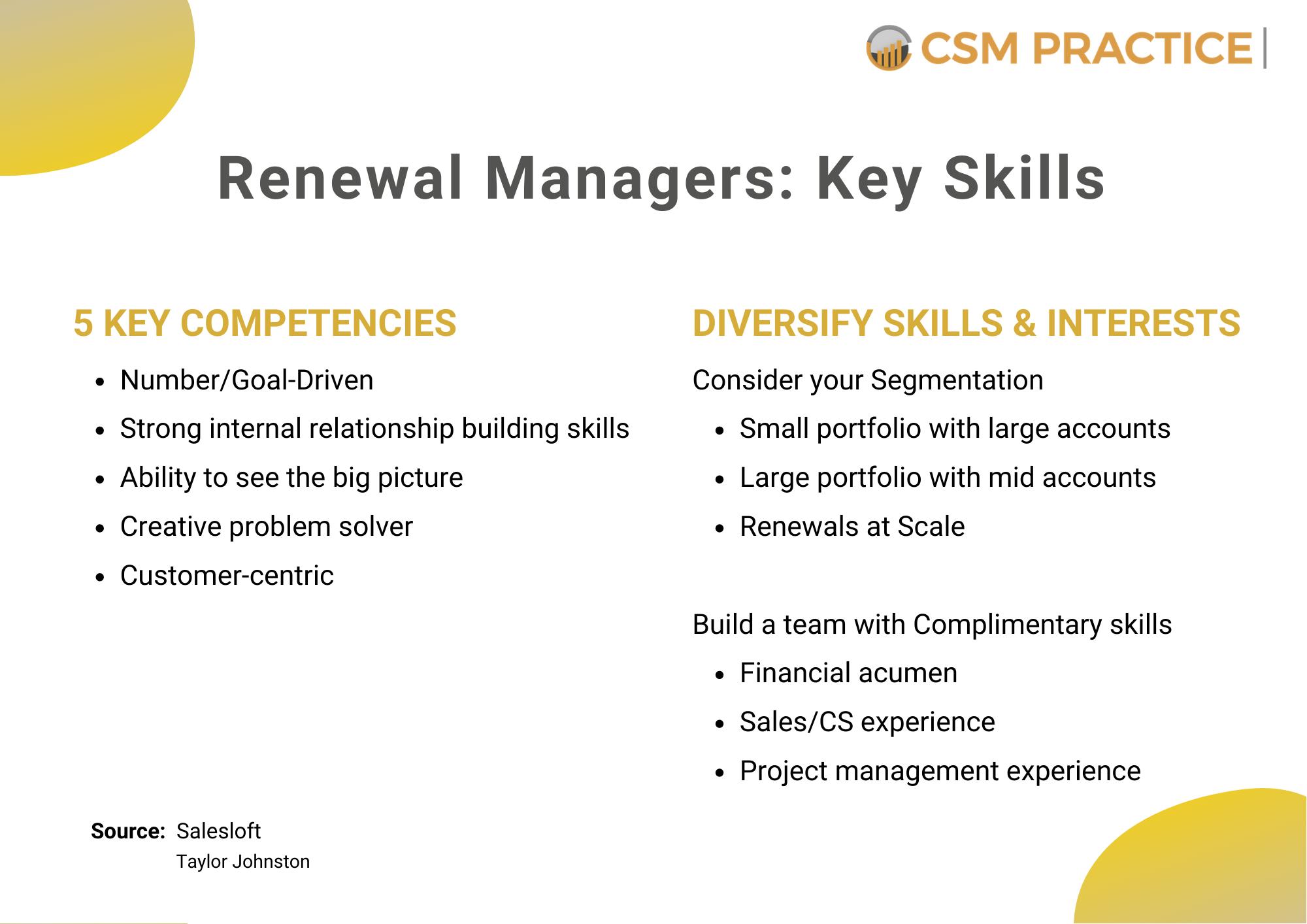 customer success renewal manager key skills